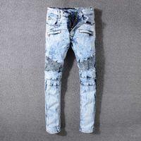 Wholesale italian style lighting - Italian luxury Mens Skinny robin Jeans Distressed Slim Elastic Denim Biker Jeans Hip hop Pants Washed Ripped Jeans for men plus size 28-42