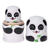 süße bjd puppen groihandel-5 teile / satz Holz Matroschka Puppen Nette Panda Malen Kinder Kinder