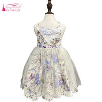 Wholesale lace flower girl dresses china - Halter Print Flower Girls Dresses Fairy Tulle Lace Edge Bohemian Baby Casual wear China In Stock ZF053