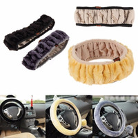 Wholesale wool steering wheel cover - Steering Wheel Cover 1PCS High Quality Soft Warm Wool Plush Winter Car Steering Wheel Cover Universal BBA208