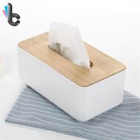 caixa de madeira moderna venda por atacado-Caixas De Tecido De Plástico De madeira Casa De Armazenamento De Cozinha Design Moderno Caixa De Guardanapo De Madeira Maciça