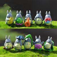 ingrosso figurine di plastica in miniatura-Mini Totoro Statue da giardino Miniature Figurine fai da te Micro muschio Paesaggio Decorazione Plastica 100pcs / lot T2I121