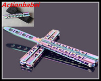 Wholesale Old Knifes - Actionbabei New Colorful Rainbow Practice Knife toy BALISONG METAL BUTTERFLY Steel Trainer Training Knife Sports Dull toy