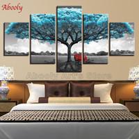 cuadros abstractos caballos corriendo al por mayor-Sala de estar Wall Art Pictures HD Home Decor 5 Panel azul Big Tree Red Chair Pintura moderna sobre lienzo Poster Framework