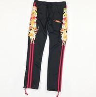 calça vermelha para homens venda por atacado-Mens Designer Basculador Calças Doublet 18FW Preto Bordado Vermelho Listrado Calça Esportiva Calças Casuais