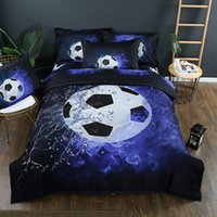 Wholesale queen size beddings online - World Cup D Football Bedding Set Blue Color HD Print Sports Duvet Cover Set Pillowcases Twin Queen King Size Beddings
