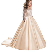 Wholesale clothes images for sale - Champagne Formal Floor Length Flower Girl Dress Girl Clothing Princess Brithday TUTU Long Sleeve Ball Gown Kids Dresses FLG47
