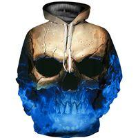 Wholesale Skull Top Womens - Personality Skull 3D Hoodies Mens Womens Sweatshirt 3d Graphic Print Tops Hooded Tracksuit jacket Pullover Apparel