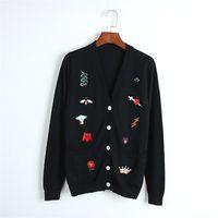 casaco de bordado de pista venda por atacado-2018 Nova Coroa Planeta Bordado Camisola De Malha Outono Mulheres de Luxo Runway Designer Casaco Malhas Casuais Jumper Cardigan Feminino
