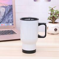 Wholesale multi advertising - 14OZ Handle Coffee Car Mugs 20*8cm 304 Stainless Steel Water Bottles DIY Advertising Cup White Sliver