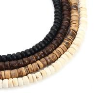 hölzerne perlen halskette schmuck großhandel-3strand 5mm Natürliche Oblate Holz Perlen Fit Halskette Armband Erkenntnisse Lose Raum Holzperlen Für Schmuck Machen Houten Kralen
