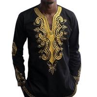 traditionelle kleidung stil großhandel-Langarm Dashiki Shirt Herrenhemden Afrikanische Dashiki Kleidung Herren Traditionelle Ethnische Afrikanische Art Druckte männliche Hemden