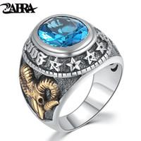 anéis de pedra zircão para homens venda por atacado-Zabra 925 zircão azul anel de homens do vintage pedra do punk rock cabeça de ovelha de ouro tailandês handmade mulheres anéis de prata esterlina jóias