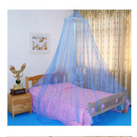 outdoor insektenvorhang großhandel-Elegante klassische romantische süße Prinzessin Studenten im Freien hängen Kuppel Moskitonetze Runde Spitze Insekt Bett Baldachin Netting Vorhang