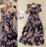 Wholesale womens short prom dresses - 2018 Runway Dress Shipping Prom Fashion Short Sleevele Flora Print Womens Clothes Brand Same Style AS