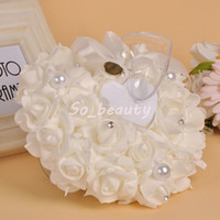 Wedding Ring Pillow with Heart Box Floral Heart Shape Cushion Marriage Creative Suppliers Decoration High Quality