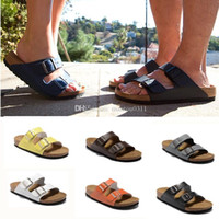 Wholesale silver open toe - Arizona Hot sellsummer Men Women flats sandals Cork slippers unisex casualshoes print mixed colors flip flop Open-toed sandals Cork slippers
