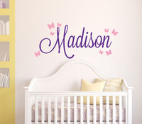 odalarda vinil kız isimleri toptan satış-Kızlar Adı Duvar Sticker Bebek Kreş Adı Kelebek Duvar Çıkartması Kişiselleştirilmiş Adı Çıkartmalar Çocuk Odası Için Yüksek Kaliteli Kesim Vinil Çıkartmalar C14