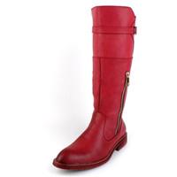 siyah deri kovboy çizmeleri toptan satış-İngiliz Tarzı Eğilim Kırmızı Yarım Çizmeler Erkekler Yuvarlak Ayak Kovboy PU Deri Martin Uzun Çizmeler Adam Sürme Çizme Kış Motosiklet Ayakkabı Siyah 38-44