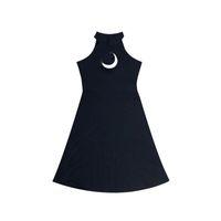 vestidos sin tirantes niña al por mayor-Chic Moon Hollow Design Black Dress Mujeres Strapless Halter A-Line Mini Vestidos de verano para niña gótica