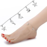 Wholesale white gold chain anklets - Fashion starfish charm anklet jewelry women sexy barefoot sandals owl ankle bracelet summer beach white gold chain anklets bracelets