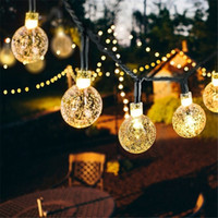 Wholesale crystal strip wholesale - Hot Led Strip 30 LED Crystal Ball Light String Solar Power Lamp Globe Fairy Light for Garden Party Home Christmas Decoration