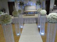 pilares do palco de casamento venda por atacado-Nova 120 cm 48 polegada de altura de ouro de prata caminhada Do Casamento modo de flor suporte de palco local arylic pilar coluna de cristal para decoração de festa de casamento