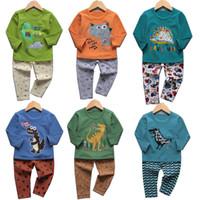 tier kinder outfits sets großhandel-Baby Mädchen Jungen Dinosaurier Animal Print Outfits Kinder Einhorn Pyjamas Anzüge 2018 Herbst Boutique Kinder Kleidung Sets 27 Arten C4594