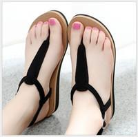tuchriemen flip flops groihandel-2018 Europa und die Vereinigten Staaten neue Tuch Gurt Sandalen weibliche rutschfeste flachen Boden sexy weibliche Füße Schuhe Schuhe Freizeitschuhe Flut