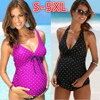 Wholesale swimsuit pregnant woman resale online - Pregnant Swimwear Plus Size Maternity Tankini Set Swimsuit Women Polka Dot Swimwear Size S XL