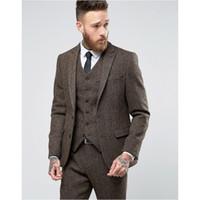 colete moderno venda por atacado-2018 New Custom Made Tweed Ternos Dos Homens Formais Skinny Wedding Smoking Suave Blazer Moderno 3 Peça Dos Homens Ternos (Jacket + Pants + Vest)