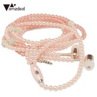 telefones celulares rosa venda por atacado-Amzdeal Com Fio Colar de Pérolas de Jóias Fones De Ouvido Handsfree Headset Headset Beads Rosa para IOS / Android Celular acessórios