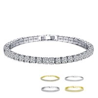 Wholesale womens gold link bracelets - 18K White Yellow Gold Plated Link Round Cut AAA+ Crystals Stones Tennis Bracelets for Womens Jewelry pulseras mujer accessoires