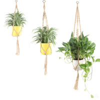 Wholesale wall baskets for flowers resale online - Jute Rope Macrame Hanging Planter Holder Basket Wall Art Vintage inspired Plant Hanger for Plant Pot Indoor Outdoor Home Decoration S M L XL