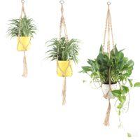 vintage pflanzer großhandel-Jute Seil Macrame hängenden Übertopf Halter Korb Wand Kunst Vintage-inspirierte Pflanze Kleiderbügel für Blumentopf Indoor Outdoor Home Dekoration S M L XL
