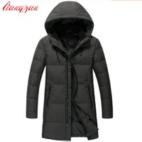 Wholesale zipper design trench coat - Men High Quality Down Coats Brand Design 90% White Duck Winter Warm Snow Thick Medium-Long Down Parkas Casual Trench Coats F2352