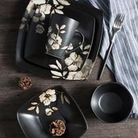 vajilla de porcelana al por mayor-Juego de Cena de Vajilla de Cerámica Japonesa Estampado de flores Juegos de vajilla Platos de Cocina para Restaurante