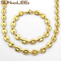 ingrosso set di catene mens-7mm SUNNERLEES Fashion Jewelry Collana in acciaio inossidabile Set di braccialetti Catena da uomo a chicchi di caffè da donna SC13 S