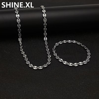 Wholesale men bracelet 316l stainless steel for sale - Group buy 316L Stainless Steel Coffee Bean Chain quot Necklace and quot Bracelets Fashion Hip Hop Jewelry Set Gold Chain for Men