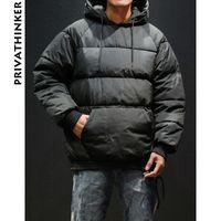 casacos de inverno japoneses venda por atacado-Homens Inverno Parka Casaco de Inverno 2018 Mens Japonês Streetwear Bolha Casaco Masculino Com Capuz Hiphop Blusão Pullover