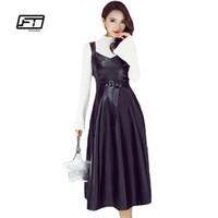 vestido sexy preto pu venda por atacado-Fitaylor outono inverno mulheres pu couro dress moda elegante faux couro macio sexy v neck sem mangas de cintura alta vestido preto