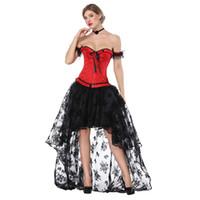 vestidos victorian steampunk venda por atacado-Preto Vermelho Do Vintage Steampunk Espartilhos E Corpetes Sexy Corset Vestido Vitoriano Roupas Gothic Plus Size Burlesque Trajes 3XL