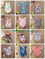 Wholesale girls short jumpsuits - New 2018 newborn baby girl romper onesies kid clothes bodysuit animal floral striped lemon cactus strawberry jumpsuit summer playsuit 0-24M