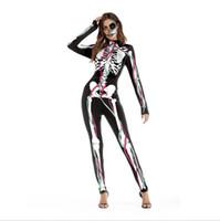 costumes effrayants pour hommes achat en gros de-Halloween Costume Squelette Hommes et Femmes Sexy Cosplay Costume Effrayant Costume costume de corps Halloween Cosplay Jumpsuit