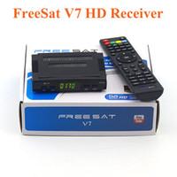 receptor de satélite biss al por mayor-Freesat V7 DVB-S2 HD con USB Wifi Receptor de TV satelital Compatibilidad con la clave PowerVu Biss Cccamd YouTube Youporn Set Top Box