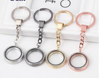 Wholesale floating charm locket key chains resale online - Round Heart Rhinestone Crystal DIY Pendant Floating Charming Locket charms Keychain Keyring Personality Metal Key Chain Ring Gifts