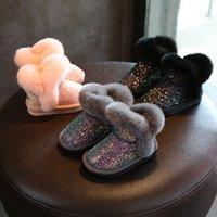 mädchen rosa schnee stiefel großhandel-Pailletten Mädchen Stiefel Winter Schuhe für Mädchen Rosa Stiefel Kinder Schneestiefel Kinder