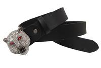 Wholesale leopard head belt - Ladies men European and American rhinestone fashion black strap leather belt retro drill leopard head buckle belt women's casual belt