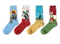 soyut sanat kaynağı toptan satış-Yüksek kaliteli bahar vintage sanat soyut çorap ünlü yağlıboya serisi pamuk çorap kişilik erkek moda rahat Noel hediyesi