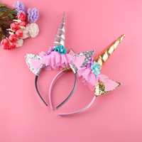 Wholesale handmade gold hair accessories - 1DZ Handmade Kids Party Gold Unicorn Headband Horn Gold Glittery Beautiful Headwear Hairband Hair Accessories Gold Silver